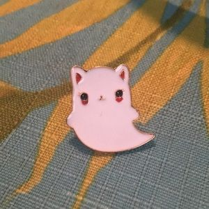 Accessories - Ghost kitty cat pin